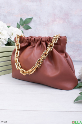 Женская терракотовая сумка с ручкой-цепью