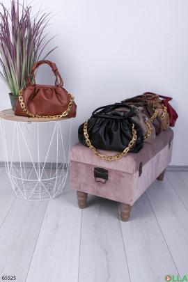 Женская терракотовая сумка с цепью