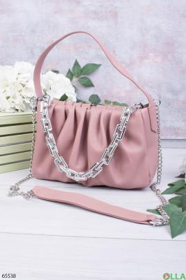 Женская розовая сумка с цепями
