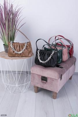 Женская коричневая сумка с цепями