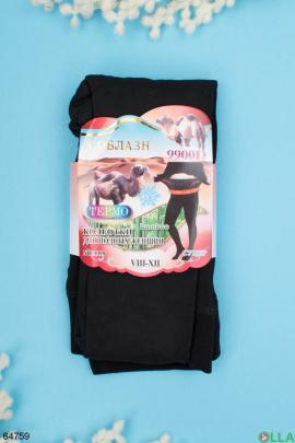 Женские черные колготы с начесом 9900 Den