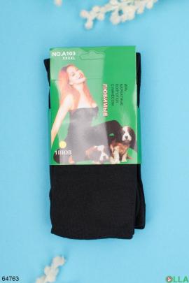 Женские черные бархатные колготы с начесом
