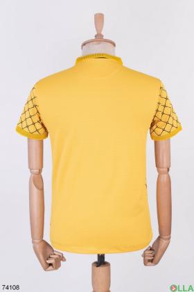 Мужское желтое поло в принт