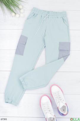 Женские спортивные бирюзовые брюки