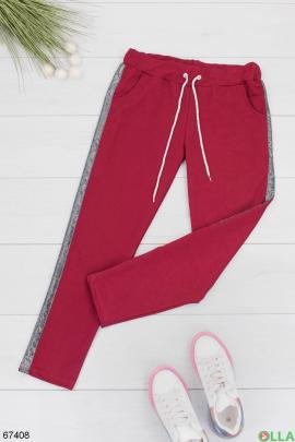 Женские спортивные бордовые брюки