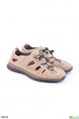 Мужские бежевые сандалии из эко-кожи