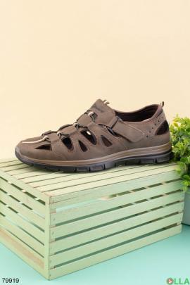 Мужские коричневые сандалии из эко-кожи