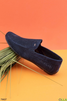 Мужские темно-синие туфли из эко-кожи