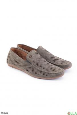Мужские туфли цвета хаки из эко-кожи