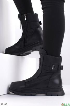 Женские зимние черные сапоги-дутики