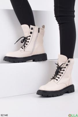 Женские зимние бежевые ботинки из эко-кожи