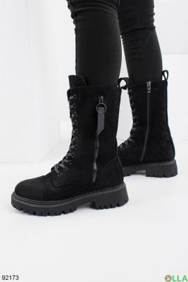Женские зимние черные ботинки из эко-замши
