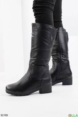 Женские зимние черные сапоги из эко-кожи на каблуке