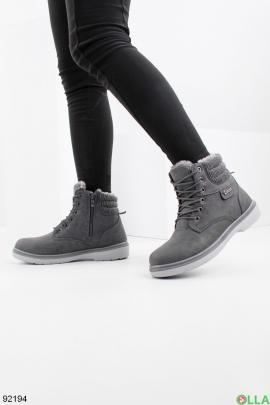 Женские зимние серые ботинки из эко-кожи