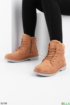Женские зимние коричневые ботинки из эко-кожи