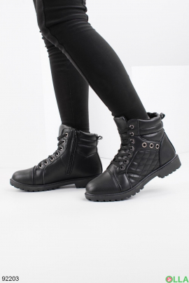 Женские зимние черные ботинки из эко-кожи