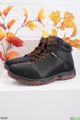 Мужские зимние черные ботинки из эко-кожи