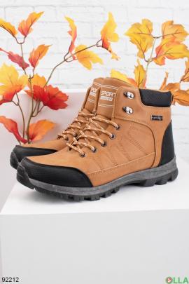 Мужские зимние двухцветные ботинки из эко-кожи
