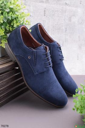 Мужские синие туфли из эко-замши