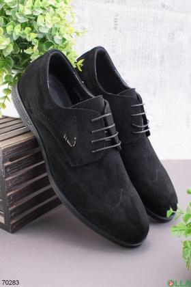 Мужские черные туфли из эко-замши