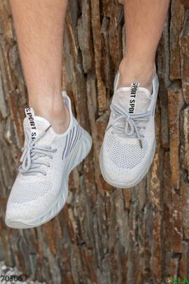 Мужские бежевые кроссовки с черными вставками