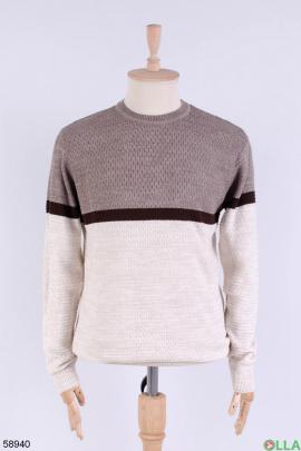 Мужской бежево-коричневый свитер