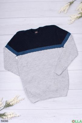 Мужской сине-серый свитер