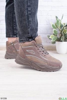 Женские зимние коричневые кроссовки из эко-замши