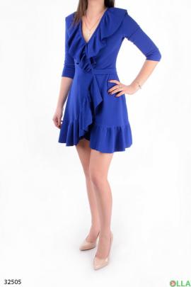 Синее платье на запах
