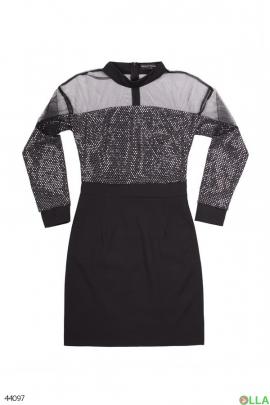 Черное платье с сеткой и пайетками
