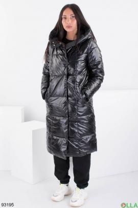 Женская зимняя черная куртка-трансформер с капюшоном