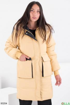 Женская зимняя желтая куртка с капюшоном