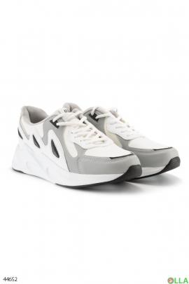 Мужские серо-белые кроссовки
