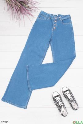 Женские синие джинсы-клеш