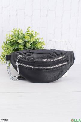 Женская черная сумка-бананка из эко-кожи