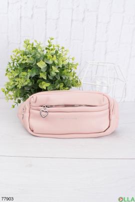 Женская розовая сумка-бананка из эко-кожи