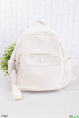 Женский белый рюкзак из эко-кожи