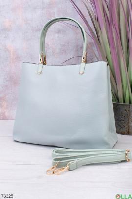 Женская бирюзовая сумка из эко-кожи