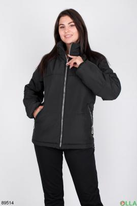 Женская черная куртка без капюшона