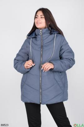 Женская синяя куртка с капюшоном