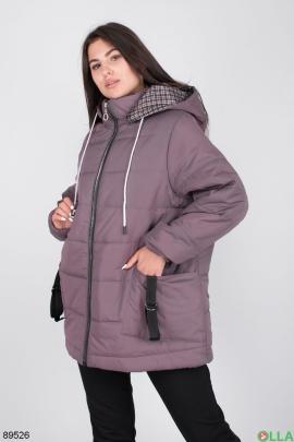 Женская фиолетовая куртка с капюшоном
