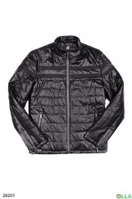 Мужская стеганная куртка черного цвета