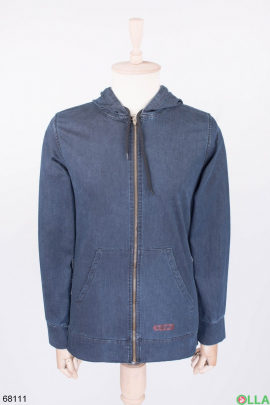 Мужская темно-синяя джинсовая куртка