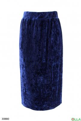Синяя велюровая юбка