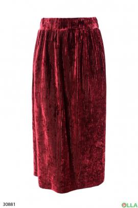 Бордовая велюровая юбка