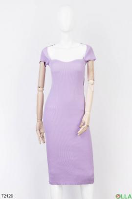 Женское сиреневое трикотажное платье