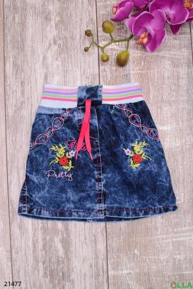 Джинсовая юбка с поясом на резинке