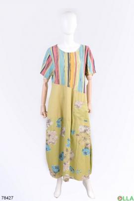 Женское зеленое платье с цветочным принтом