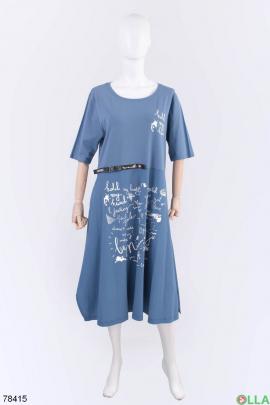 Женское синее платье с надписью