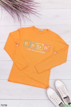 Женский оранжевый свитшот с надпиью